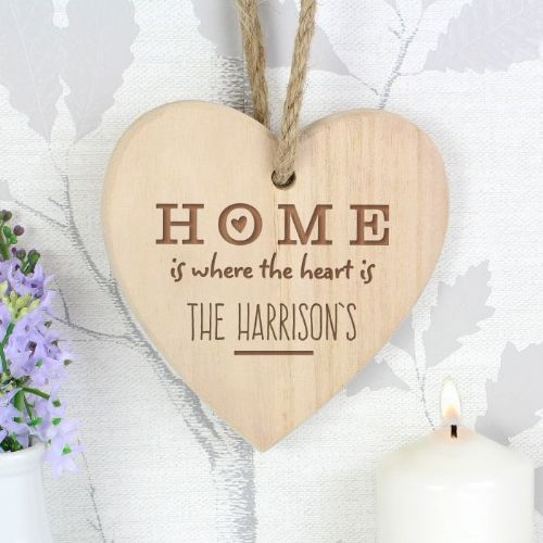 Home is Where... Chunky Wooden Heart Decoration